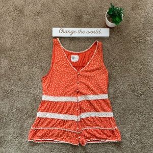 Anthropologie Orange Floral Lace Tank Top